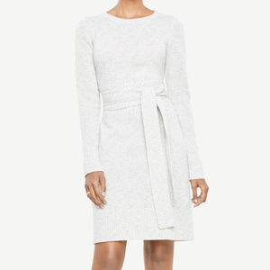 Ann Taylor Sweater Dress Cream Heather Wool Blend